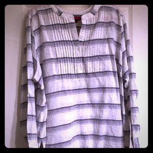 Lane Bryant white and purple linen/cotton tunic